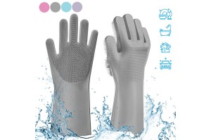 1 Pair Magic Gloves Silicone Dishwashing Large Size Cleaning Gloves Hand Gloves For Dish Washing Kitchen Bathroom Cleaning Car Washing