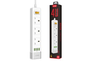 LDNIO 4U 3 Power Socket 4 USB Port 2.4A 5.24ft 1.6m Smart Power Strip UK Plug Overload Switch Surge Protector Outlet Quick Charge