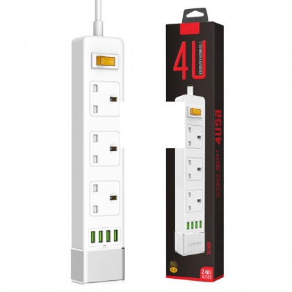 4U 3 Power Socket 4 USB Port 2.4A 5.24ft 1.6m Smart Power Strip UK Plug Overload Switch Surge Protector Outlet Quick Charge