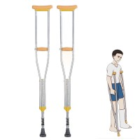 1 Pair Shock-absorbing Underarm Crutches Aluminum Cane