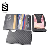 SKY TRAVELLER SKY323 Carbon Fiber Slim Wallet Credit Card Holder RFID Blocking Anti Scan Metal Cash Clip