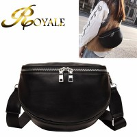 ROYALE Small Black Simple Fashion Waist Bag PU Fanny Pack Women Belt Shoulder Chest Bag Storage Zipper Handbag Pouch Streetwear 8028 (RYL-237)