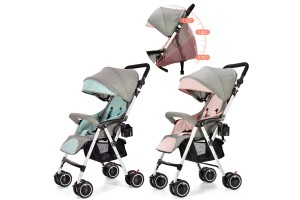Children's Four-Wheeled Trolley Can Sit Reclining Foldable Baby Stroller Umbrella Shock Absorber