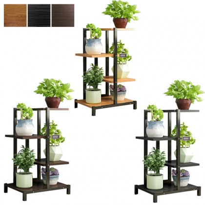 GTE 3 Tier Living Room Wrought Iron Pot Rack Interior Province Space Pergola Standing Flower Plant Shelf (L150)