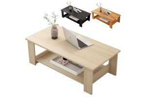 Simple Modern Living Room Furniture Storage Simple Wooden Double Level Small Coffee Table (H32) (100cm x 50cm x 41.5cm)