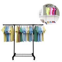 Stainless Steel Extendable Hanging Rack Clothing Garment Rack Floor-standing Household Clothes Rod