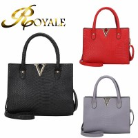ROYALE Crocodile Pattern PU Commuter Temperament Bag V Handbag Single Shoulder Skew Spanning Bag (RYL-235)