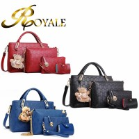ROYALE Women 4-In-1 Tote Bag Pu Leather Weave Handbag Shoulder Purse Bags Set (RYL-243)