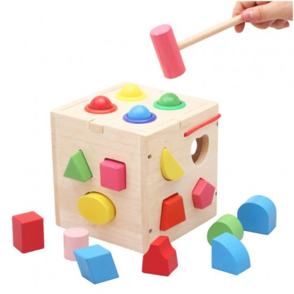 13pcs Intelligence Education Box Wooden Shape Baby Cognitive And Matching Building Blocks