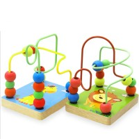 Beads Baby Toys Educational Wooden Mini Rail Maze Building Blocks Small Round Beads Fancy Shape
