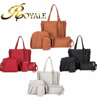 ROYALE 4-In-1 Leather Bags Fashion Women Tassel Handbags Single Shoulder Bag Totes Bag (RYL-233)