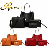 ROYALE 4-In-1 Style Fashion Solid Women PU Leather Long Size Handbag Lady Shoulder Bag Tote Purse Satchel Set (RYL-234)