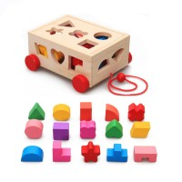 Multifunction Intelligence Tow Hole Smart Box Shape Matching Trailer Children's Educational Wooden Toys
