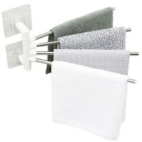 Multi-Functional Towel Rack Seamless Stainless Steel Open Design Can Rotate 180° Towel Storage Hanger