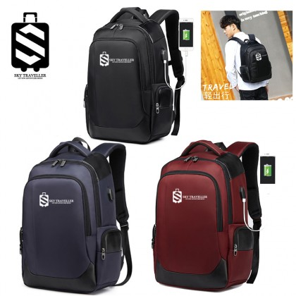 SKY TRAVELLER SKY328 Casual Backpack Male USB Men's Backpack Breathable Wear Business Computer Bag Travel Bag Laptop Bag