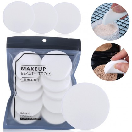 10pcs Round White Soft Sponge Powder Foundation Blending Puff Flawless Smooth