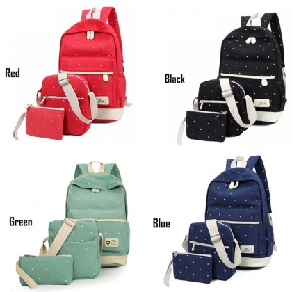 3-In-1 Dot Canvas Backpack Women Shoulder Sling Bag School Bagpack