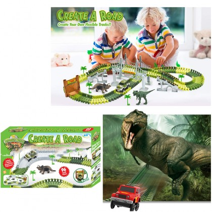 Children Dinosaur World Rail Road Race Car Assembled Track Electric Car Best Gift Choice