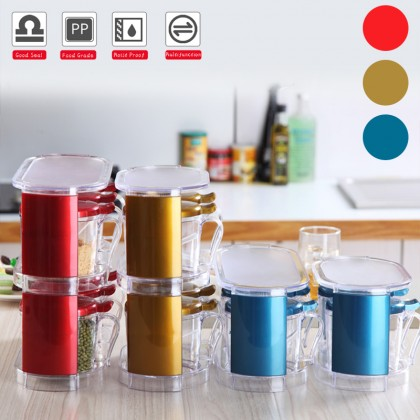 6 In 1 Kitchen Use Household Seasoning Jar Spice Box Salt Bottle Cans Condiment Storage Container Seasonings Cruet