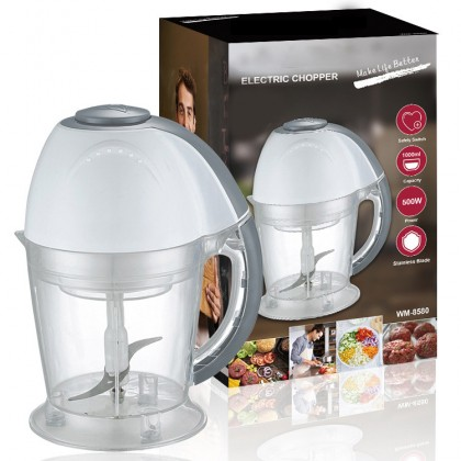1L 500W Food Processor Electric Multipurpose Food Chopper Blender and Mincer With Round Pin Plug