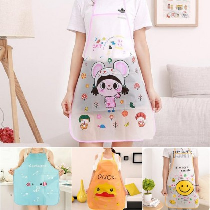 2pcs Cute Cartoon Waterproof Apron Kitchen Restaurant Cooking Bib Aprons