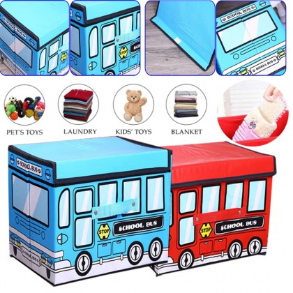 GTE School Bus Toy Organizer Folding Storage Toy Chest And Kid Clothes