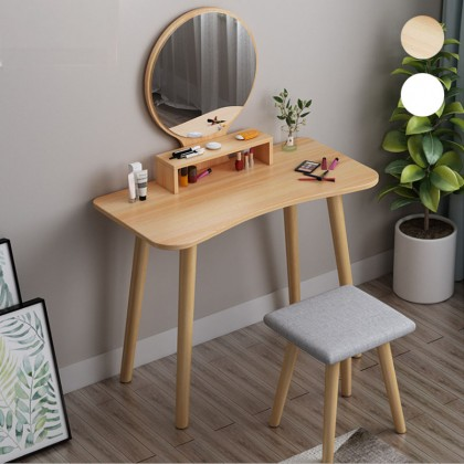 GTE Wooden Nordic Dressing Vanity Table Set With Simple Modern Round Mirror And Cushioned Stool