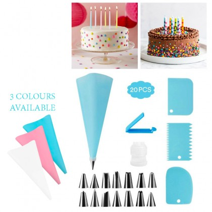 GTE 20pcs Cake Piping Decoration Kit Scraper Tools Baking Set Cupcake Supplies Set Pembuat Kek سيت ڤمبوات كيك